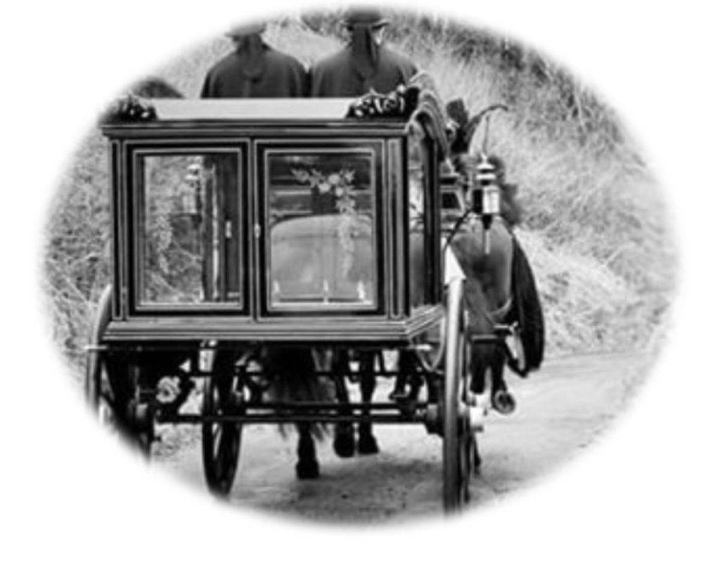 black and white photo of carriage from days gone by